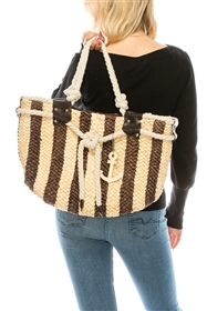 wholesale nautical cornhusk straw tote bag