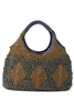 wholesale straw and wood bead handbag purse