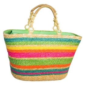 wholesale rainbow stripe straw handbag
