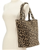 wholesale leopard print straw tote