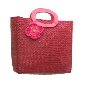 wholesale seagrass purse fabric flower