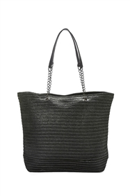 black bulk large straw tote bags - cheap braided shoulder tote bags wholesale - los angeles fashion accessories importer