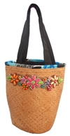 wholesale straw bucket tote  multicolor wood beads