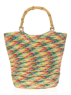 wholesale toyo rainbow straw bags bamboo handles beach bag