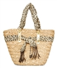 wholesale straw handbags seagrass resort bag leopard trim
