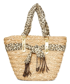 32bea80c7 wholesale straw handbags seagrass resort bag leopard trim ...