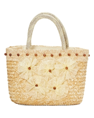 bulk small straw bags - bulk straw purses flowers