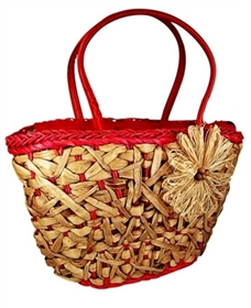 wholesale straw handbags from water hyacinth with raffia flower