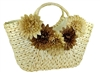 wholesale handwoven cornhusk straw handbag with silk flowers