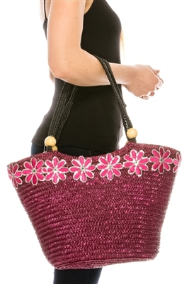 bulk womens straw handbags wholesale - straw bags with sequin flowers