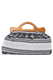 wholesale sweater material handbag wood handle