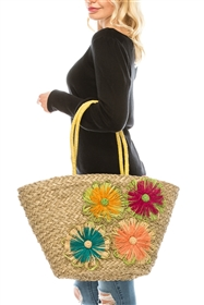 wholesale seagrass tote  4 flowers