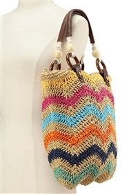 wholesale zigzag crochet straw bag