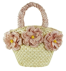 bulk straw baskets - wholesale small straw bags - floral print