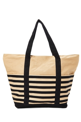 wholesale striped canvas resort tote bag