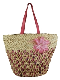 wholesale woven ribbon and cornhusk tote bag