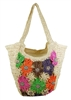 wholesale crochet straw beach bags - multicolor flowers