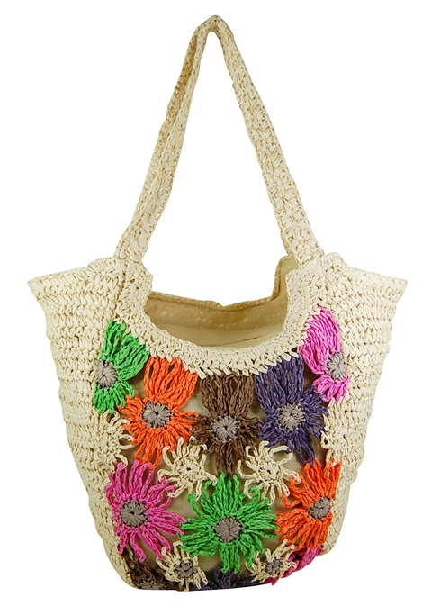 Wholesale Crochet Straw Beach Bag With Multicolor Flowers