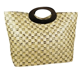 wholesale basketweave paper tote  wood handles