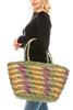 wholesale big straw tote  slant pattern