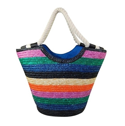 wholesale striped straw tote bags rope handles