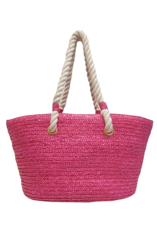 2454 Big Straw Tote with Rope Handles
