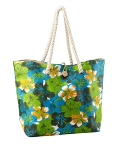 wholesale beach bags hibiscus flowers rope handles