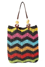 wholesale multicolor zigzag crochet straw handbag