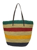wholesale multi striped straw crochet handbag