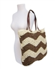 wholesale large crochet straw beach bag  wavy stripes