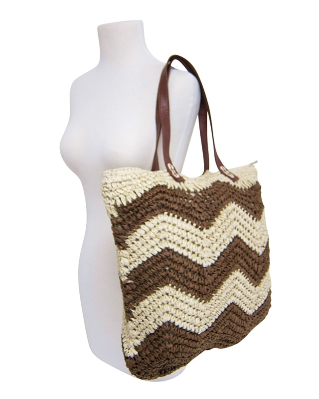 2477 Large Crochet Straw Beach Bag With Wavy Stripes