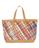 wholesale colorful woven handbag  pu trim