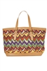 wholesale zigzag fabric handbag  pu trim