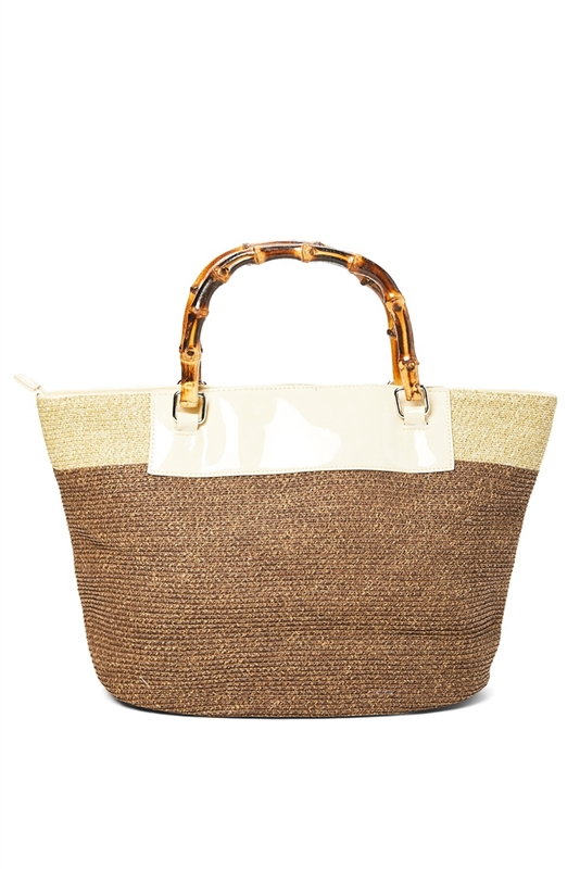 1e299f1b239 2489 2-Tone Straw Purse with Bamboo Handles