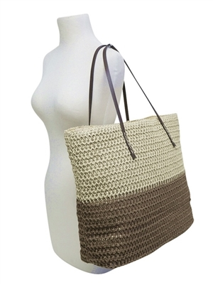 a51f1c20a5a 2494 2-Tone Straw Tote Bag with Pu Straps
