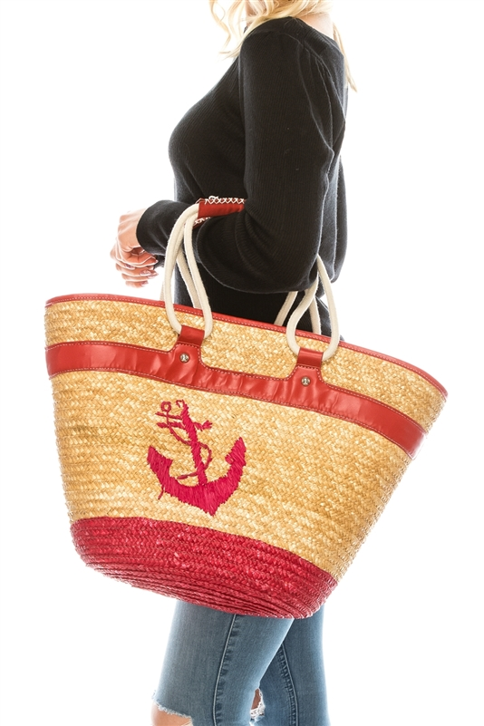 2497 Embroidered Anchor Straw Tote With Rope Handles