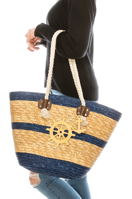 2498 Ship Wheel Straw Tote With Rope Handles
