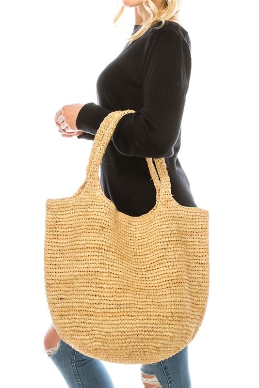 Hand Crocheted Raffia Straw Hobo Bag