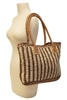 wholesale straw beach totes with pu handles