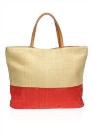 wholesale straw tote bags - beach bags colorblock shoulder bag - los angeles