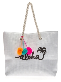 Wholesale Beach Bags - Pom-Poms and Aloha Script