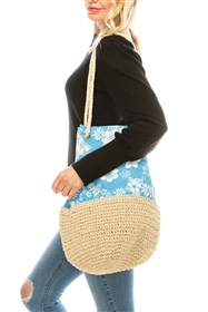 Wholesale Hawaii Flower Beach Bags Hibiscus Print Straw Sling Bag