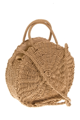 Wholesale Circle Tote Bags - Straw Shoulder Bag