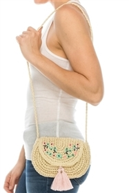 Wholesale Straw Purses - Embroidery Tassels Crochet Mini Purse Handbag