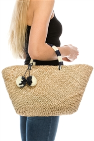 Wholesale Beach Bags - Pom Poms Seagrass Basket Bag w/ 2-Tone Poms