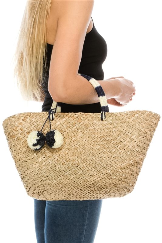 Wholesale Beach Bags - Seagrass Straw Basket Bag w  2-Tone Pom Poms bc16248fb609a