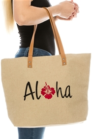 wholesale large hemp tote bags aloha embroidered hawaii totes