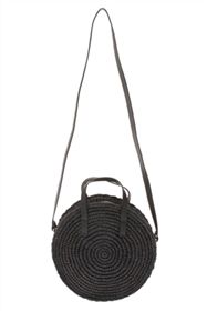 wholesale Straw Circle Bag w/ Vegan Leather Strap
