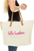 Wholesale Beach Bags - Hello Sunshine Script - Straw Tote Bag