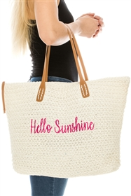 Wholesale Hello Sunshine Embroidery Tote